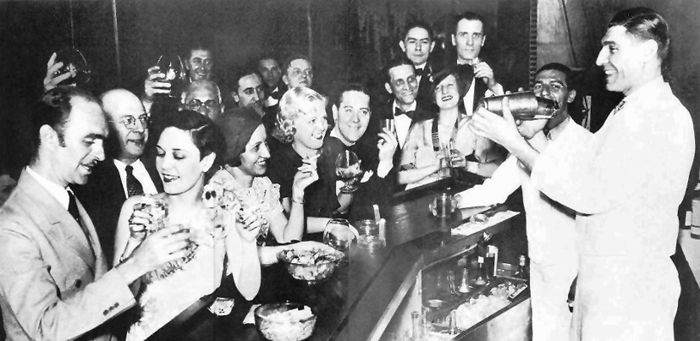 a bustling speakeasy in the 1920s