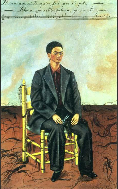 frida kahlo's self portrait with cropped hair