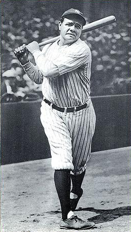 babe ruth with a bat after a practice swing