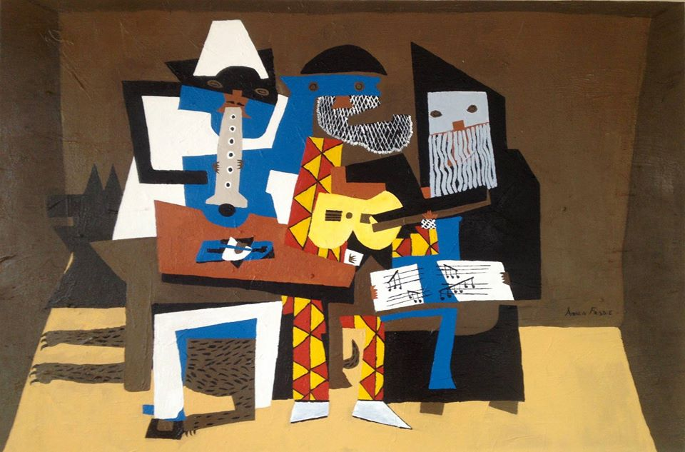 three musicians, a picasso cubism piece from 1921