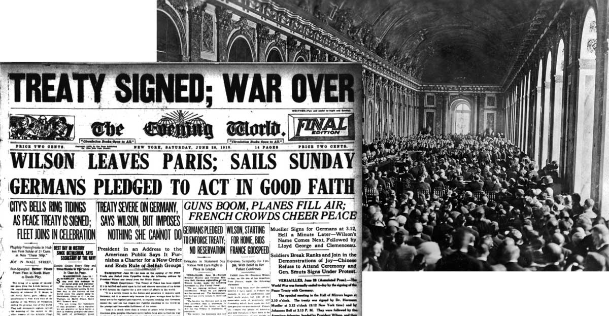 The treaty of Versailles announcement in a newspaper