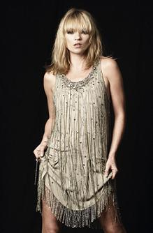 The beautiful Kate Moss in her 1920s flapper inspired dress