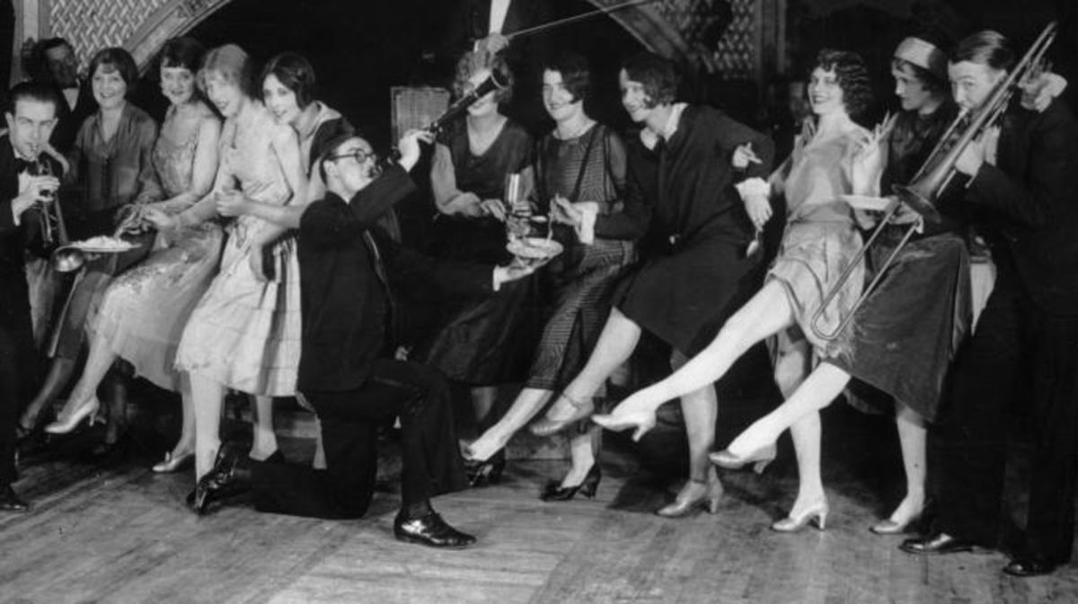 a haphazard 1920's style party complete with trombonist in the charleston kick line and a clarinet player
